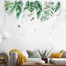 Amazon Com Tropical Leaves Border Wall Decal Ceiling Line Sticker For Living Room Corners Kitchen Bench Hearth Around Pvc Wallpaper Green Home Kitchen