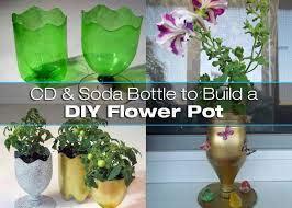 flower pot using a cd and soda bottle
