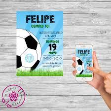 Tarjeta Invitacion Digital Futbol Cumpleanos Infantil 150 00