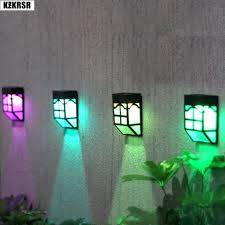 Kzkrsr Led Solar Fence Light 7 Color Changing Garden Pathway Wall Lamp Ip65 Waterproof Landscape Outdoor Decoration Lighting In Solar Lamps From Lights Lighting On Aliexpress