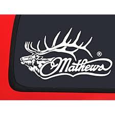 Amazon Com Mathews Logo With Elk White Archery Hunting Window Decal Sticker Automotive
