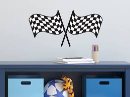 Amazon Com Sunny Decals Racing Checkered Flags Fabric Wall Decal Home Kitchen