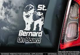 St Bernard Car Window Sticker Dog On Board Sign Saint Bernhardshund Gift 4 67 Picclick