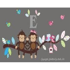 Baby Nursery Wall Decals Safari Jungle Children S Themed 32 X 60 Inches Animals Trees Girls Room Monogrammed Wildlife