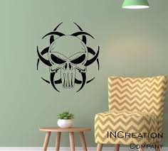 Amazon Com Punisher Biohazard Skull Wall Decor Vinyl Wall Decal Sticker Graphics Go The Bed Home Decor Bedroom Man Cave Office Sign Handmade