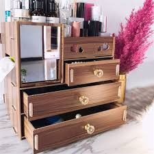 large wooden makeup organizer desktop