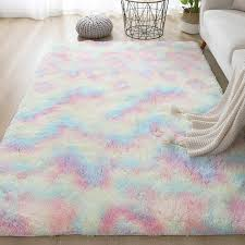 Colorful Carpet Shaggy Girl Room Bedside Rugs Cute Rainbow Color Soft Fluffy Plush Rug Kids Bedroom Nordic Home Decor Floor Mat Aliexpress