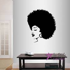 Wall Vinyl Decal Home Decor Art Sticker Beautiful Sexy Girl Woman Lady With Afro Hair Face Beauty Hair Salon Room Removable Stylish Mural Unique Design Afrocentric Afrocentric Vibes