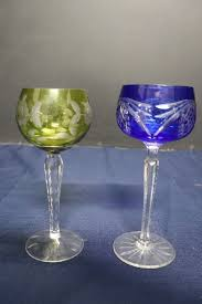 colored cut czech crystal wine glasses