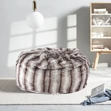 Karmas Product Faux Fur Bean Bag Chair Luxury And Comfy Big Beanless Bag Chairs Plush Furry Chair Soft Sofa Lounger For Adults And Kids Sponge Filling 3 Ft Grey Streak Print Walmart Com