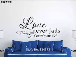 Love Never Fails Christian Bible Verse Scripture Wall Art Stickers Wall Decals Home Diy Decoration Removable Decor Wall Stickers Wall Stickers Aliexpress