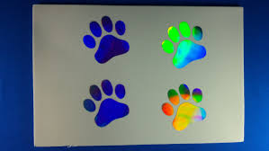 5 Inch Paw Prints Holographic Car Window Decal Sticker 4 1 84 X 1 86 Paws Dog Bright