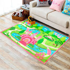 Kids Non Slip Princess Castle Bedroom Playroom Floor Rug Boys Play Mats Carpets Girls Bedroom Rug Kid Room Carpet Floor Rugs Bedroom