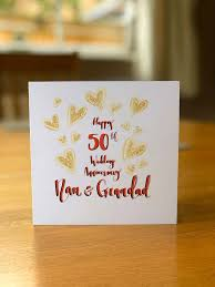 golden 50th wedding anniversary cards