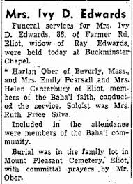 Obit of Ivy Edwards, officiated by Harlan Ober, Emily Pearsall, Helen  Cantebury - Newspapers.com