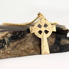 14k gold irish celtic cross necklace