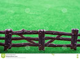 Fake Fence Over Grass Stock Photo Image Of Woodwork 80138856