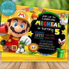 Invitacion De Cumpleanos Editable De Mario Maker Y Tarjeta De