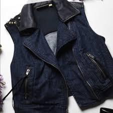 princess dark denim biker vest