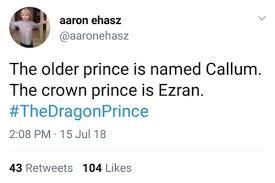"The Dragon Prince Fans — dragonprincefan: Aaron Ehasz: ""The older prince..."