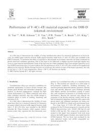 Performance of V–4Cr–4Ti material exposed to the DIII-D tokamak environment  - [PDF Document]