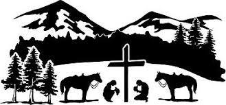 Cowboy Cowgirl Praying Kneeling Scene Cross Decal Window Bumper Sticker 2 Sizes Ebay