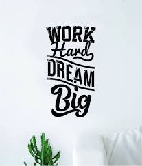 Work Hard Dream Big V2 Quote Wall Decal Sticker Bedroom Room Art Vinyl Boop Decals