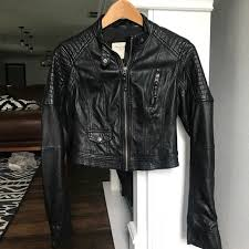 cropped faux leather moto jacket