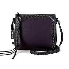 women s black studded leather bag