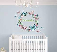 Amazon Com Custom Name Branches And Butterflies Baby Girl Nursery Wall Decal For Baby Room Decorations Mural Wall Decal Sticker For Home Children S Bedroom Mm125 Wide 22 X17 Height Home