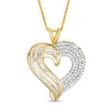 round diamond heart pendant in 10k gold