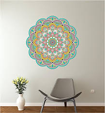 24 Mandala Ethnic Floral 4 Mural Panoramic Wall Decal Sticker Removable Reusable Ornament Meditation Home Office Teen Bedroom Decor Wantitall
