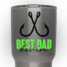Best Dad Fishing Custom Decal Vinyl Sticker Initials Monograms For Yeti Tumber Decal Choose Two Colors Size