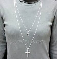 cross pendant long necklace chain