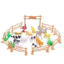 Hot Sale Kids Diy Toy 15pcs Set Plastic Farm Animals Toys Farm Poultry Feed Fence Simulation Model Animal Toy Wish