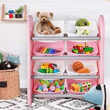 Amazon Com Potby Kids Toy Storage Organizer 4 Layer Children Play Collection Shelves Bookshelf With 8 Plastic Drawers Bins For Girls And Boys In Bedroom Playroom Living Room Pink Furniture Decor