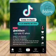 Imprimible Tik Tok Invitacion De Cumpleanos Adolescente Descarga