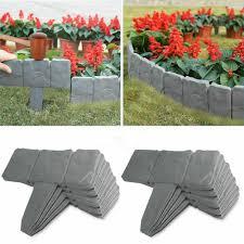 20pcs Imitation Stone Fence Gardening Grounding Fence Folding Garden Fence Border Edging Diy Decorative Garden Landscape Decor