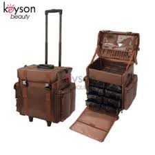 trolley makeup case with brush holder