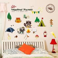 Woodland Forest Animals Wall Stickers Kids Rooms Decoration Refrigerator Home Decor Nursery Wall Decals Children Wallpaper Children Wallpaper Animal Wall Stickerswall Sticker Aliexpress
