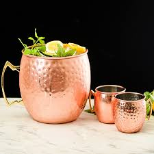 hammered copper plated moscow mule cups