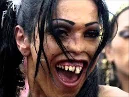 woman funny weird face makeup