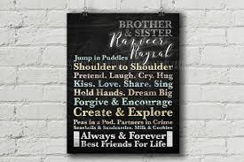 Brother And Sister Chalkboard Sign Wall Art Custom Name Etsy