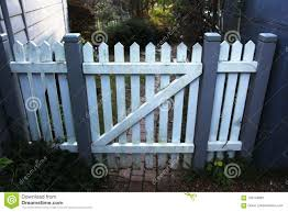 Wooden Picket Fence Gate In White And Grey Stock Photo Image Of Grey Driveway 104144962