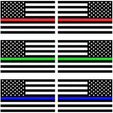 3 Pairs 3x5 In Creatrill Reflective Thin Blue Red Green Line Decal Matte Black Trucks Hard Hat American Usa Flag Decal Stickers For Cars Support For Police Fire Officers Military Troops Bumper