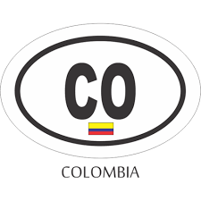 Colombia Black And White Oval Decal Flags N Gadgets