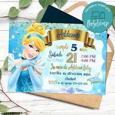 Imprimible Invitacion De Cumpleanos De Cenicienta Disney Descarga