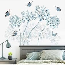 Blue Flowers Butterfly Wall Stickers Home Decor Headboard Wall Board M