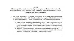 Coronavirus: ecco il decreto che blocca i confini in Lombardia e ...