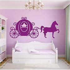 Amazon Com Vwsitc Princess Carriage With Horse Vinyl Wall Sticker Horse Carriage Silhouette Wall Decal For Bedroom Removable Wall Art Mural 128 57cm Kitchen Dining